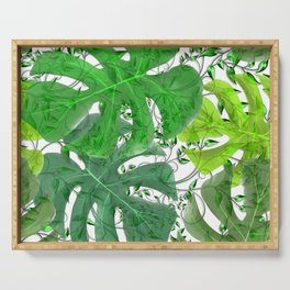 PALM LEAF B0UNTY GREEN AND WHITE Serving Tray