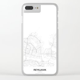 Reykjavik, Iceland Minimalist Map Clear iPhone Case