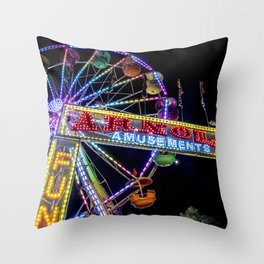 Ferris Wheel at Carnival Throw Pillow