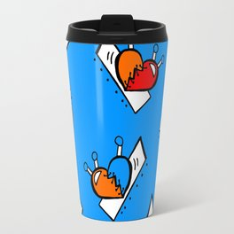 Hearts with Stitches - Blue Red Orange - Bright Blue Travel Mug