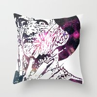 freddy krueger Throw Pillows featuring Galaxy Robert Englund Freddy Krueger by Cookie Cutter Cat Lady