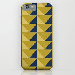 Geometric Triangles, Mid century modern, Mustard yellow, Navy blue Seamless Pattern iPhone Case