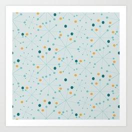Mid-Century Modern Art Atomic StarDots Pattern 1.1 Aqua Art Print