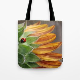 Ladybug on Sunflower Tote Bag