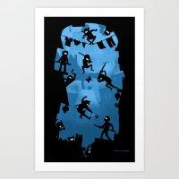 ass Art Prints featuring Ninja Kick Ass Clash by Anna-Maria Jung