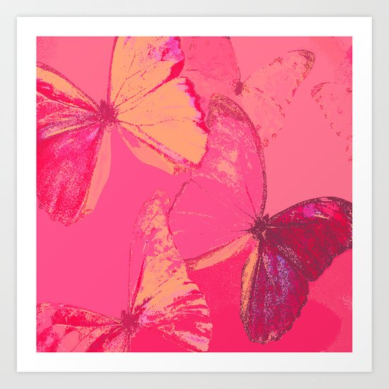 Butterflies in red shades Art Print