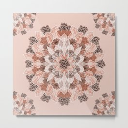 Crystals Succulents Mandala ORANGE Metal Print