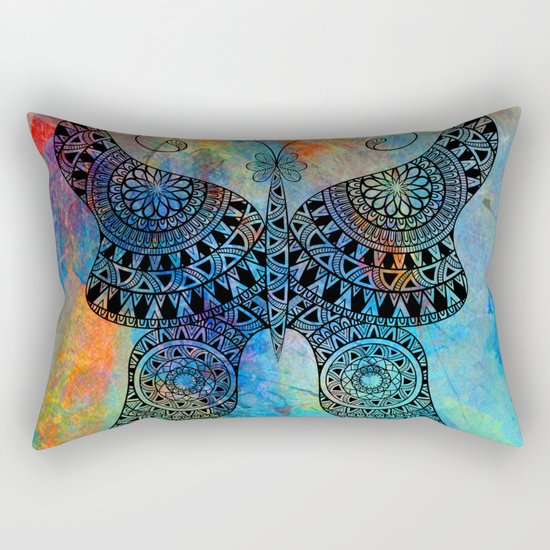 Drawn Butterfly on Colors Rectangular Pillow