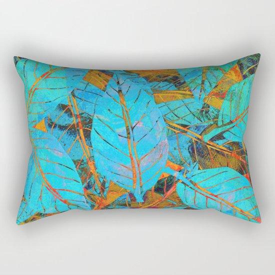 Blue & Orange Leaves Rectangular Pillow