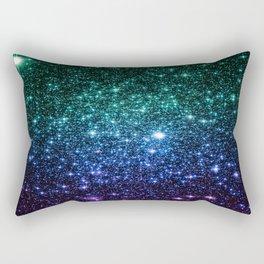 Galaxy Stars : Teal Blue Purple Rectangular Pillow