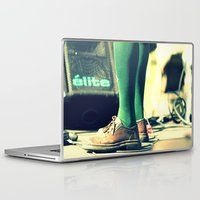 socks Laptop & iPad Skins featuring Green socks by Irène Sneddon