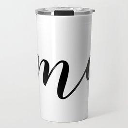 'Namaste' Pose in Bright Solid White and Black Text Yoga Exercise Travel Mug