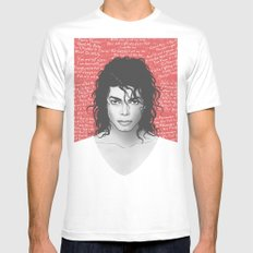 MJ White MEDIUM Mens Fitted Tee