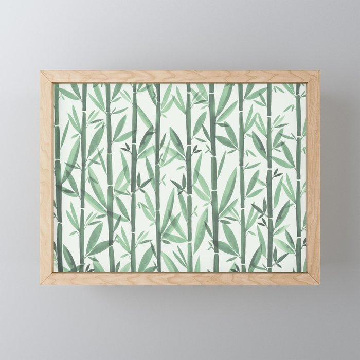 Bamboo Forest Watercolor Framed Mini Art Print