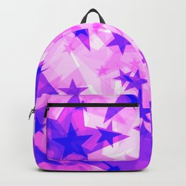 Glowing purple and pink stars on a light background in projection and with depth. Backpack
