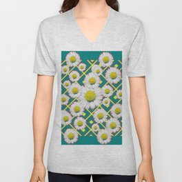 Teal Color Shasta Daisies Lime Pattern Art Abstract Unisex V-Neck