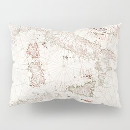 Portolan atlas of the Mediterranean Sea western Europe and the northwest coast of Africa Central Med Pillow Sham