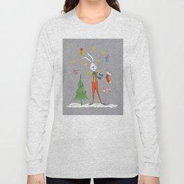 Rabbit celebrating Christmas Long Sleeve T-shirt