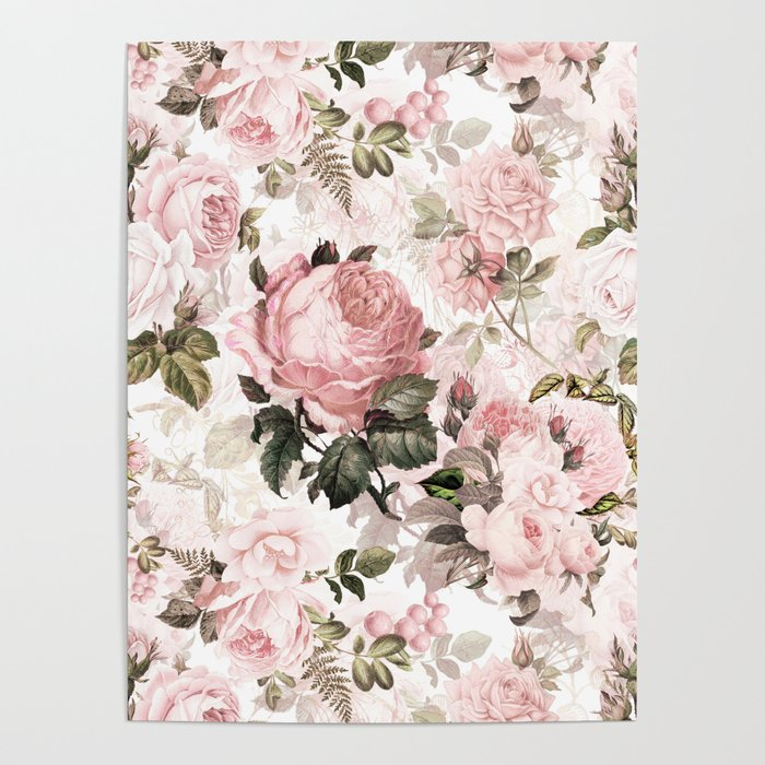Vintage & Shabby Chic - Sepia Pink Roses  Poster