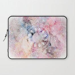 Whimsical white watercolor mandala design Laptop Sleeve