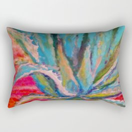 TROPICAL TURQUOISE BLUE AGAVE CACTI FUCHSIA  PATTERN Rectangular Pillow