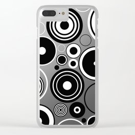 Geometric black and white rings on metallic silver Clear iPhone Case