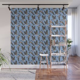 Canada Geese Flying in Blue Wall Mural