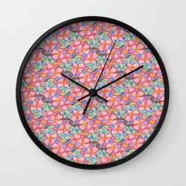 Tiled Pink Dogwood Flowers on Blue Background Wall Clock
