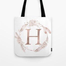 Letter H Rose Gold Pink Initial Monogram Tote Bag