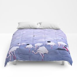 Flamingos on the beach  Comforters