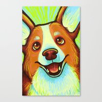 corgi Canvas Prints featuring Corgi  by Nicole