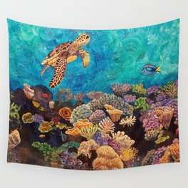 A Look around - Sea turtle in the reef Wall Tapestry