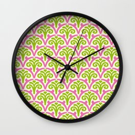 Floral Scallop Pattern Chartreuse and Pink Wall Clock