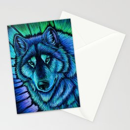 Blue Wolf Aurora Colorful Fantasy Stationery Cards