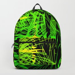 Neon background in lights and fireworks. Backpack