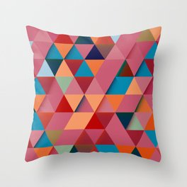 Colorfull abstract darker triangle pattern Throw Pillow