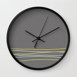 Off White, Dark Yellow and Tropical Dark Teal Inspired by Sherwin Williams 2020 Trending Color Oceanside SW6496 Scribble Lines Pattern Bottom Wall Clock