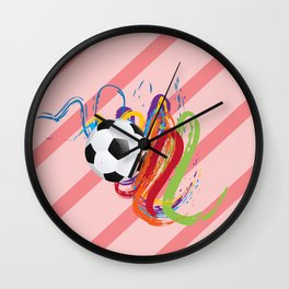 Soccer Ball with Brush Strokes Wall Clock