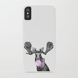 Bubble Gum Moose in Black and White iPhone Case