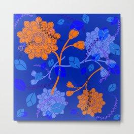 Flying Flowers in blue background Metal Print