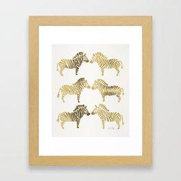 Golden Zebras Framed Art Print