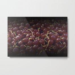 cherries pattern reaclifn Metal Print