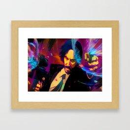 Neon John Wick Framed Art Print
