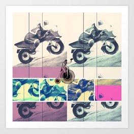 Painting, Illustration, Graphic Design, collage, motorbike Art Print