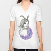 zodiac V-neck T-shirts featuring Zodiac - Capricorn by Simona Borstnar