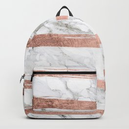 Modern chic faux rose gold brush stripes white marble Backpack