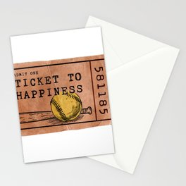 Softball - Ticket to Happiness Stationery Cards