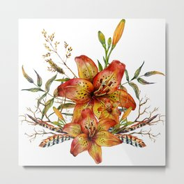 Tiger Lily Bouquet v2 Metal Print