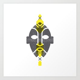 African Mask Yellow Art Print