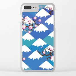 Spring Nature background with Japanese cherry blossoms, sakura pink flowers landscape. blue mountain Clear iPhone Case